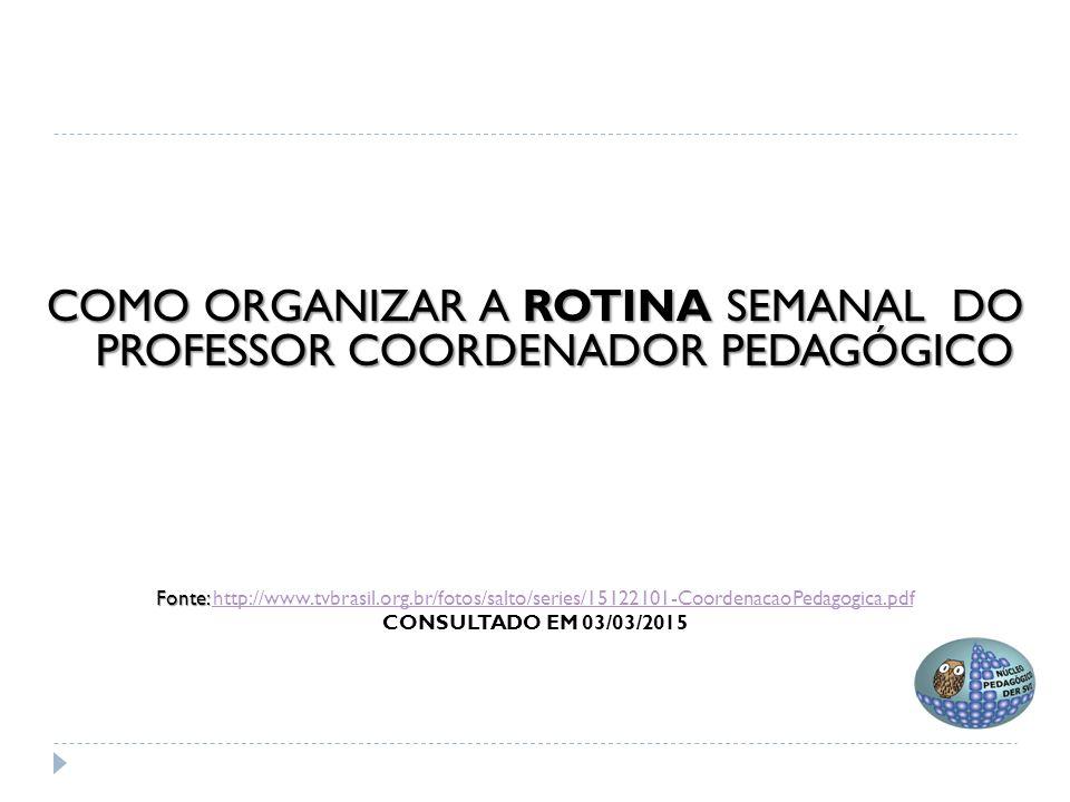  A rotina pedagógica é uma sequência que visa a organização do tempo escolar e apóia-se na reprodução diária.