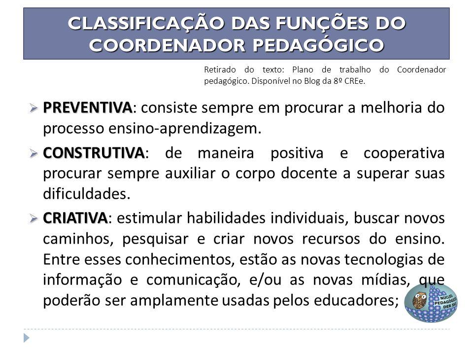 CLASSIFICAÇÃO DAS FUNÇÕES DO COORDENADOR PEDAGÓGICO COORDENAÇÃO PEDAGÓGICA: TRÊS COMPROMISSOS E UMA ROTINA Luiza Helena da Silva Christov Profa.