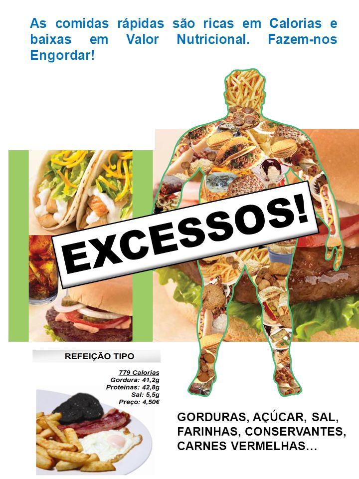 As comidas rápidas são ricas em Calorias e baixas em Valor Nutricional.