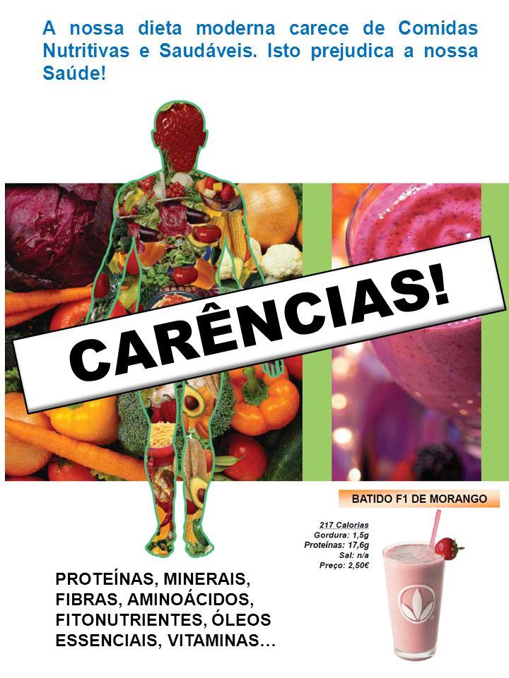 CARÊNCIAS.A nossa dieta moderna carece de Comidas Nutritivas e Saudáveis.