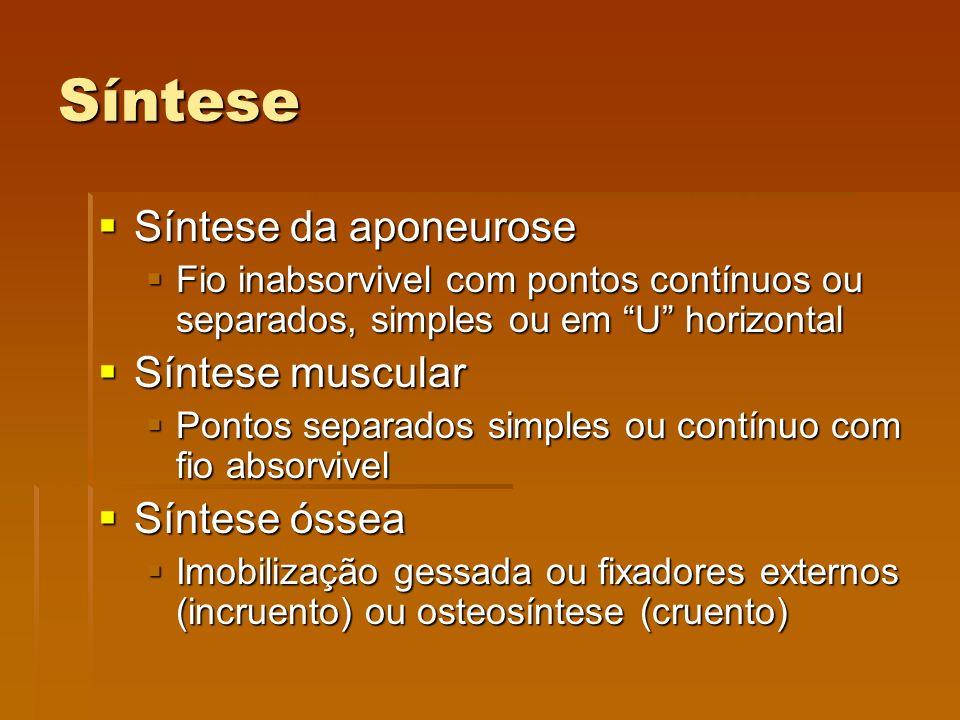 """Síntese  Síntese da aponeurose  Fio inabsorvivel com pontos contínuos ou separados, simples ou em """"U"""" horizontal  Síntese muscular  Pontos separad"""