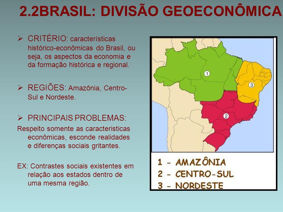 2.2BRASIL: DIVISÃO GEOECONÔMICA  CRITÉRIO: características histórico-econômicas do Brasil, ou seja, os aspectos da economia e da formação histórica e regional.