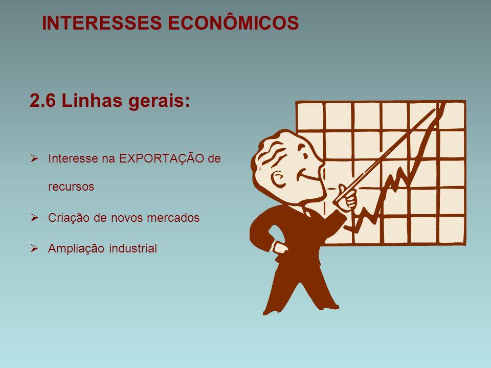 INTERESSES ECONÔMICOS 2.6 Linhas gerais:  Interesse na EXPORTAÇÃO de recursos  Criação de novos mercados  Ampliação industrial