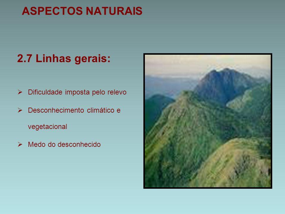 ASPECTOS NATURAIS 2.7 Linhas gerais:  Dificuldade imposta pelo relevo  Desconhecimento climático e vegetacional  Medo do desconhecido