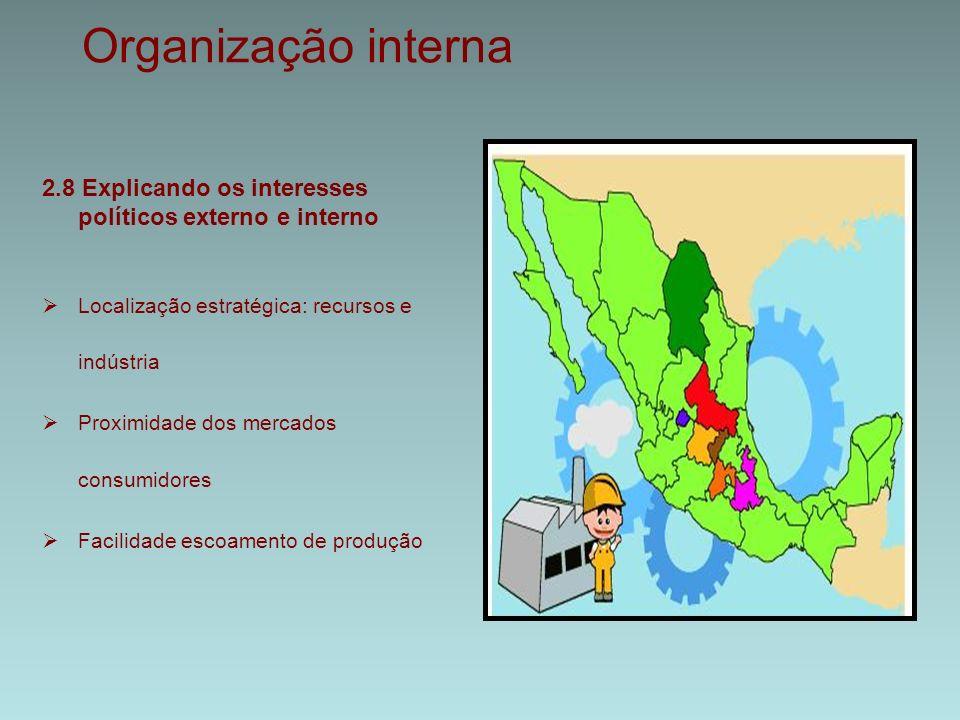Organização interna 2.8 Explicando os interesses políticos externo e interno  Localização estratégica: recursos e indústria  Proximidade dos mercados consumidores  Facilidade escoamento de produção