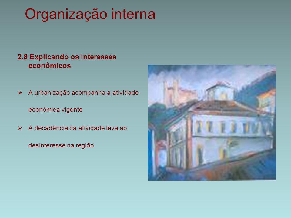 Organização interna 2.8 Explicando os interesses econômicos  A urbanização acompanha a atividade econômica vigente  A decadência da atividade leva ao desinteresse na região