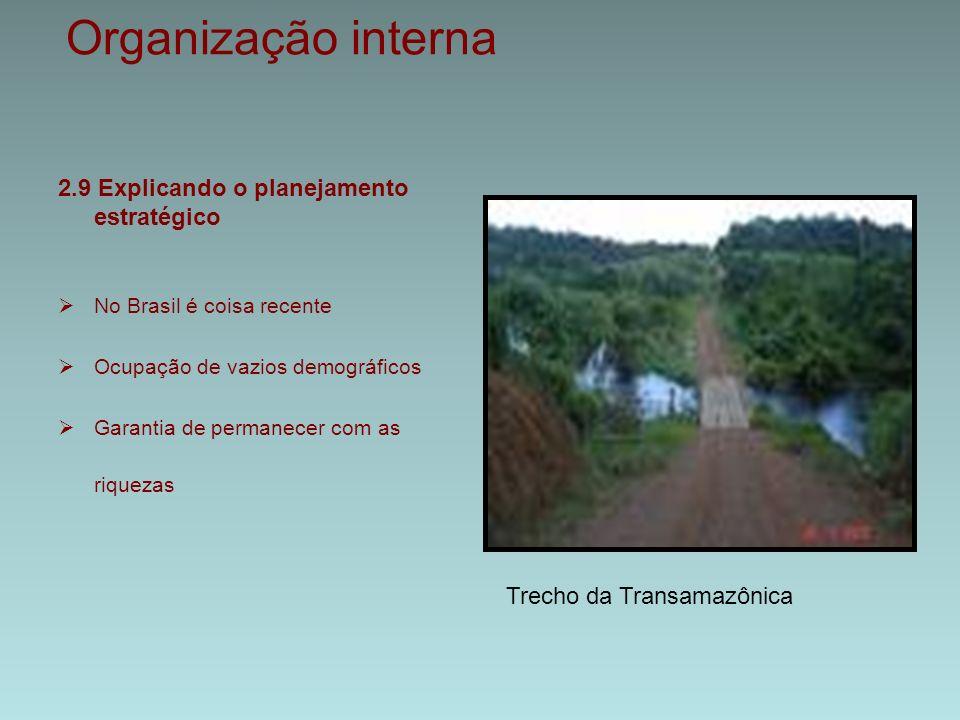 Organização interna 2.9 Explicando o planejamento estratégico  No Brasil é coisa recente  Ocupação de vazios demográficos  Garantia de permanecer com as riquezas Trecho da Transamazônica