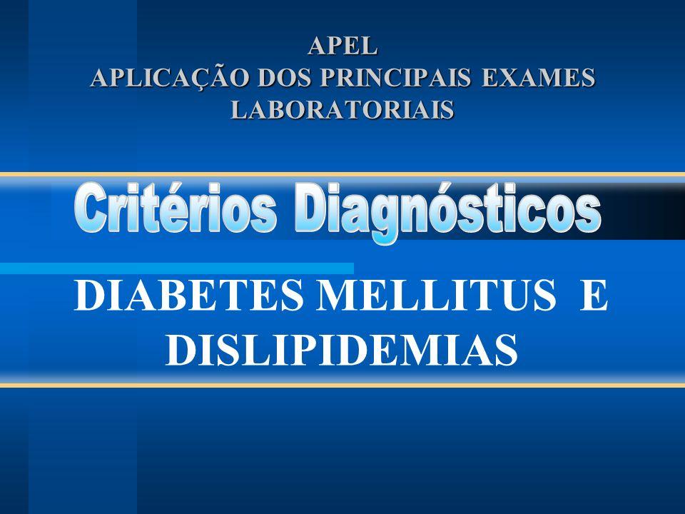 Interpretação de exames: Diagnóstico de diabetes mellitus: Glicemia de jejum Teste de tolerância a glicose Diagnóstico de dislipidemias Perfil lipídico
