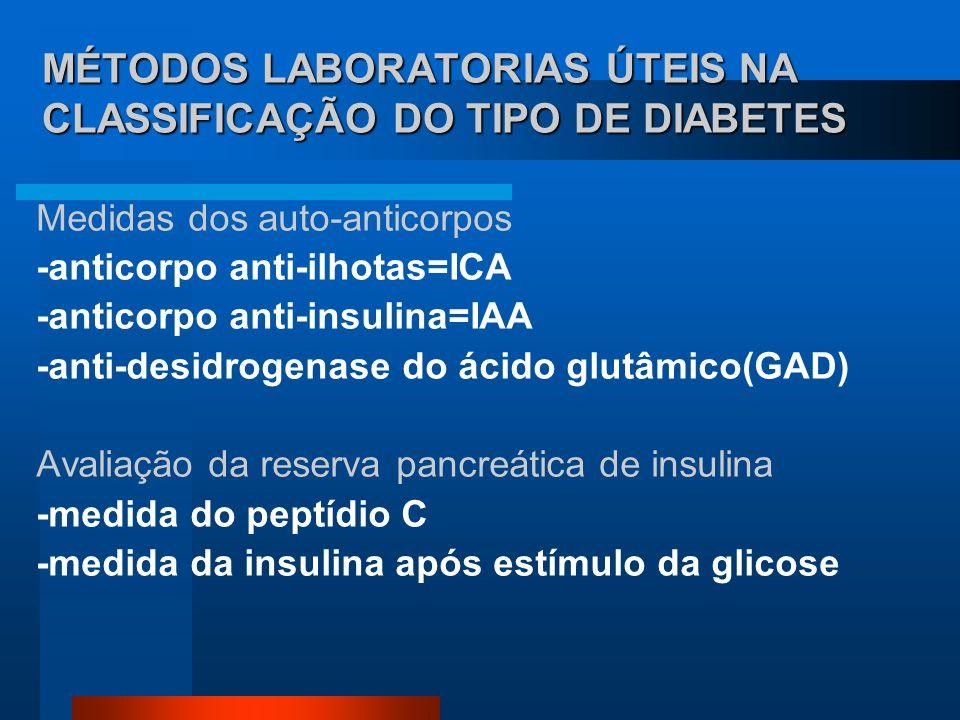 MÉTODOS LABORATORIAS ÚTEIS NA CLASSIFICAÇÃO DO TIPO DE DIABETES Medidas dos auto-anticorpos -anticorpo anti-ilhotas=ICA -anticorpo anti-insulina=IAA -