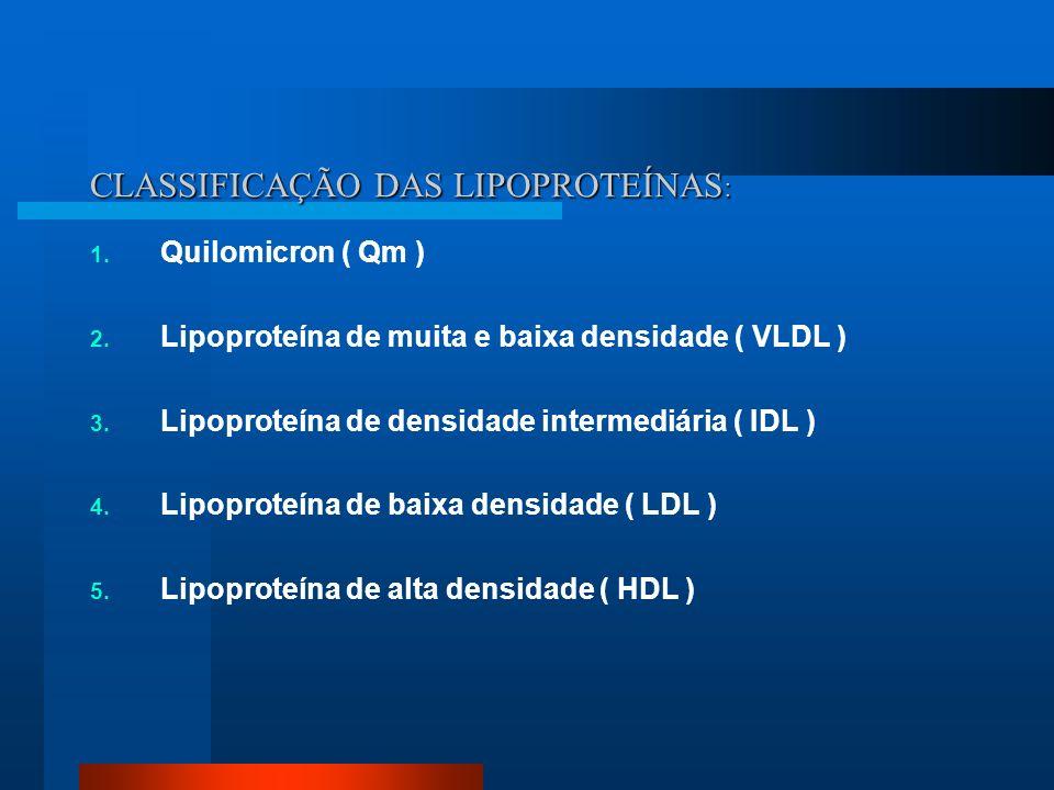 CLASSIFICAÇÃO DAS LIPOPROTEÍNAS : 1. Quilomicron ( Qm ) 2. Lipoproteína de muita e baixa densidade ( VLDL ) 3. Lipoproteína de densidade intermediária