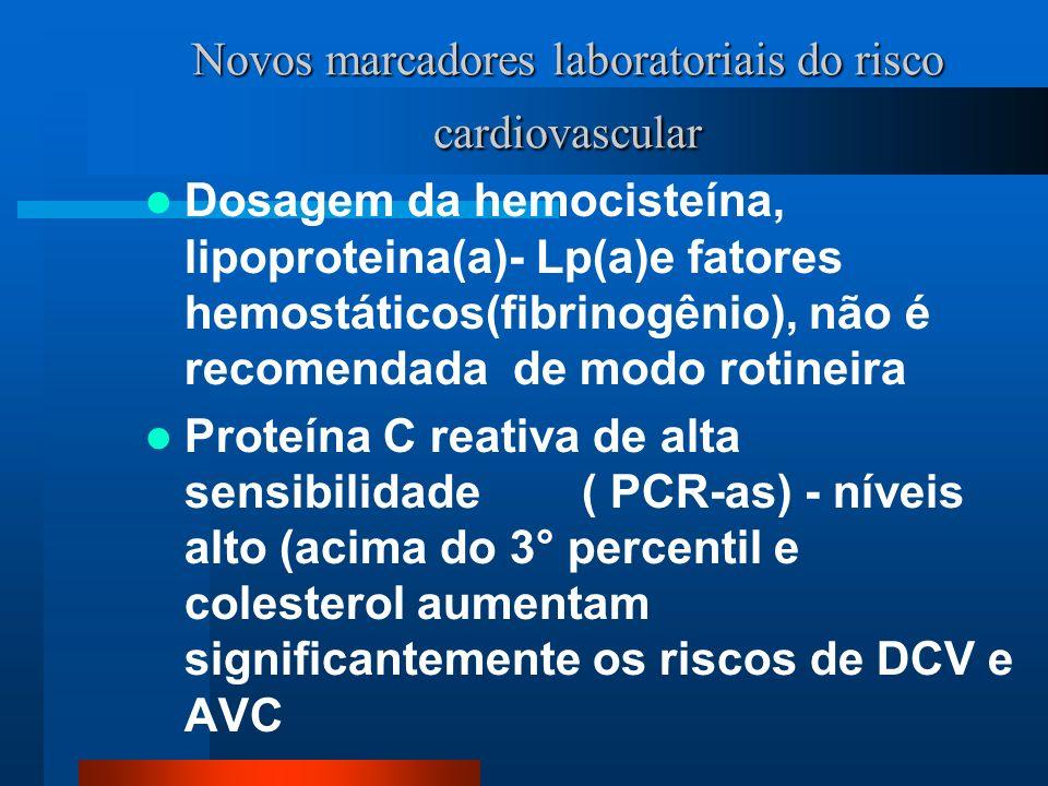 Novos marcadores laboratoriais do risco cardiovascular Dosagem da hemocisteína, lipoproteina(a)- Lp(a)e fatores hemostáticos(fibrinogênio), não é reco