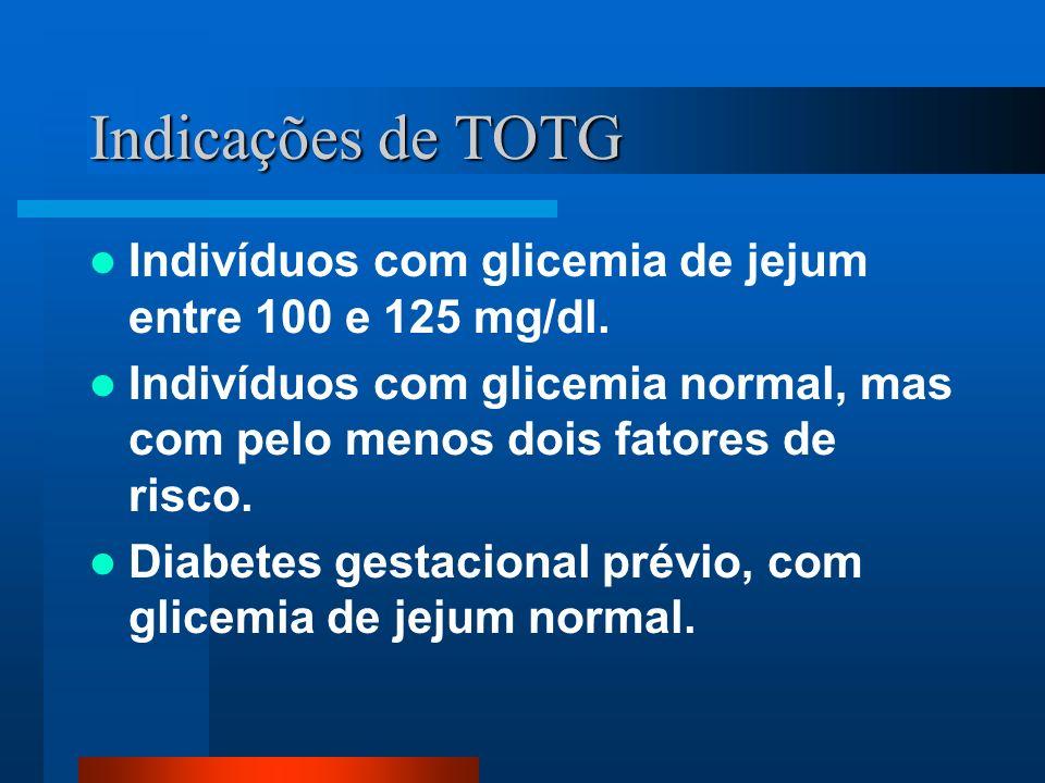 Indicações de TOTG Indivíduos com glicemia de jejum entre 100 e 125 mg/dl. Indivíduos com glicemia normal, mas com pelo menos dois fatores de risco. D