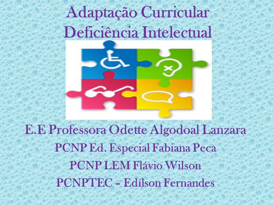 Adaptação Curricular Deficiência Intelectual E.E Professora Odette Algodoal Lanzara PCNP Ed. Especial Fabiana Peca PCNP LEM Flávio Wilson PCNPTEC – Ed