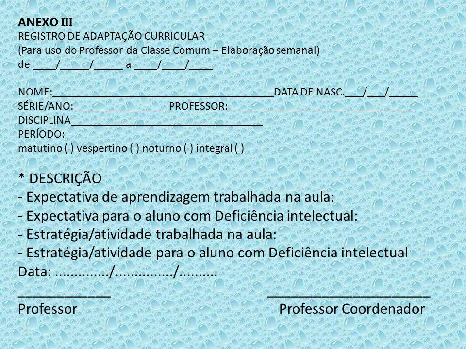 ANEXO III REGISTRO DE ADAPTAÇÃO CURRICULAR (Para uso do Professor da Classe Comum – Elaboração semanal) de ____/_____/_____ a ____/____/____ NOME:____