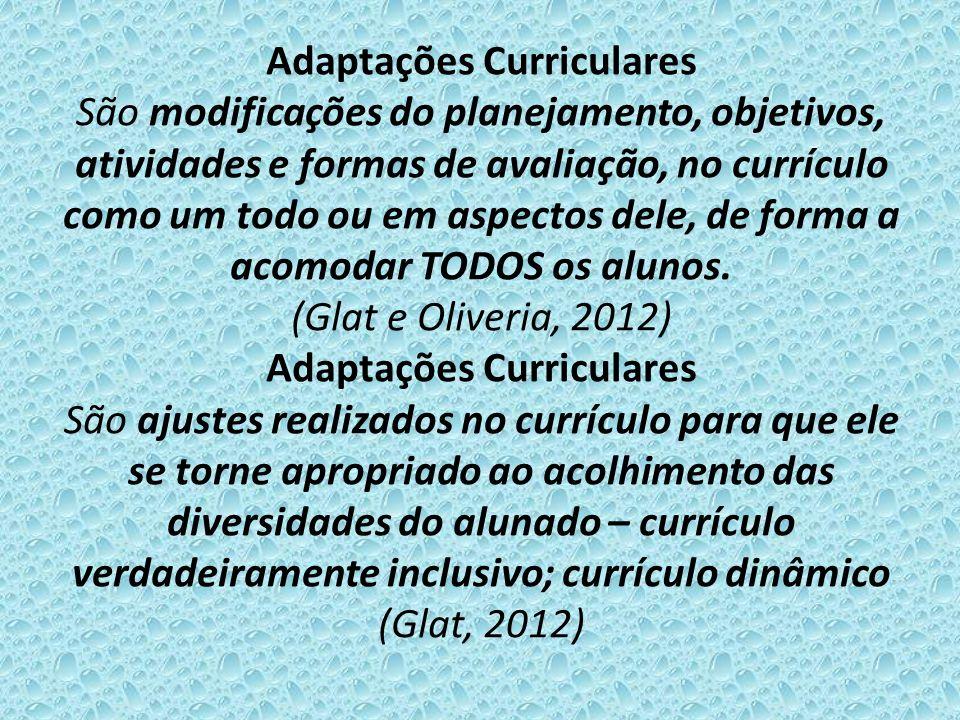 Adaptações Curriculares São modificações do planejamento, objetivos, atividades e formas de avaliação, no currículo como um todo ou em aspectos dele,