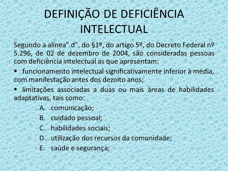 DEFINIÇÃO DE DEFICIÊNCIA INTELECTUAL Segundo a alínea