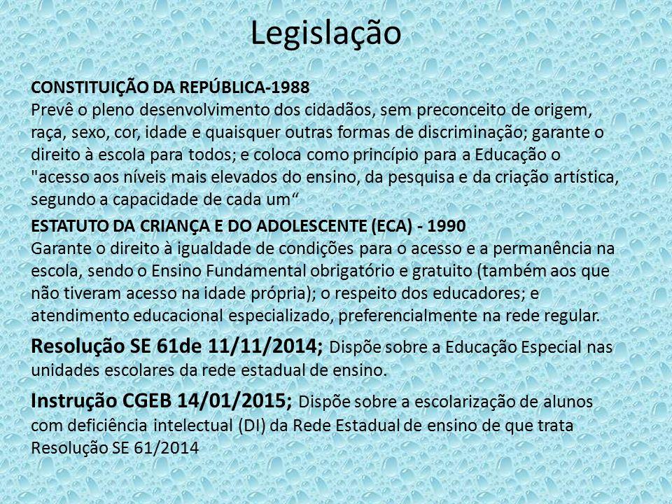 Legislação CONSTITUIÇÃO DA REPÚBLICA-1988 Prevê o pleno desenvolvimento dos cidadãos, sem preconceito de origem, raça, sexo, cor, idade e quaisquer ou