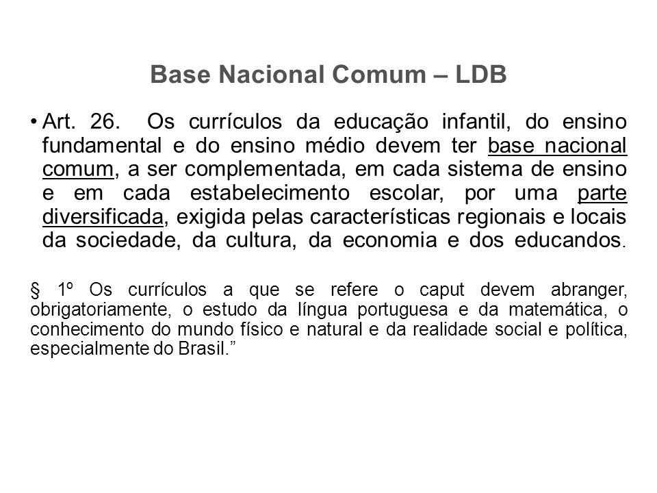Art. 26. Os currículos da educação infantil, do ensino fundamental e do ensino médio devem ter base nacional comum, a ser complementada, em cada siste