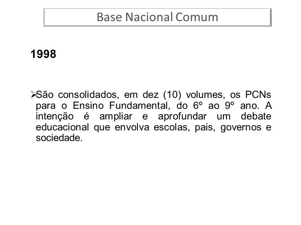 1998  São consolidados, em dez (10) volumes, os PCNs para o Ensino Fundamental, do 6º ao 9º ano. A intenção é ampliar e aprofundar um debate educacio