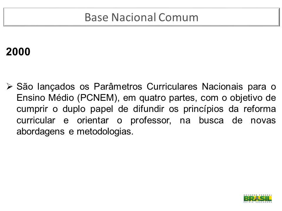 2000  São lançados os Parâmetros Curriculares Nacionais para o Ensino Médio (PCNEM), em quatro partes, com o objetivo de cumprir o duplo papel de dif