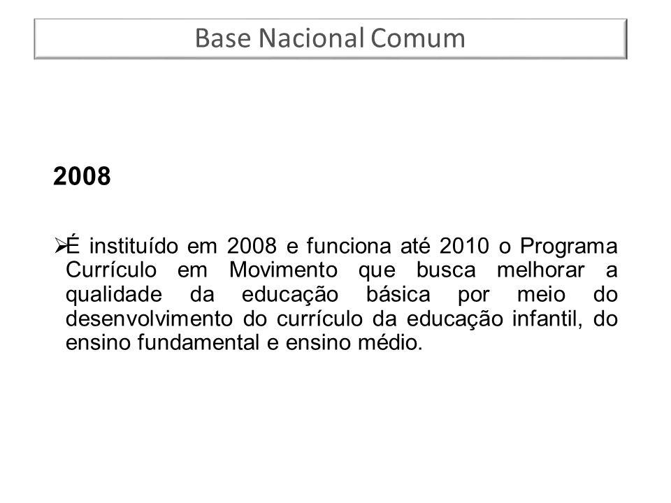 2008  É instituído em 2008 e funciona até 2010 o Programa Currículo em Movimento que busca melhorar a qualidade da educação básica por meio do desenv