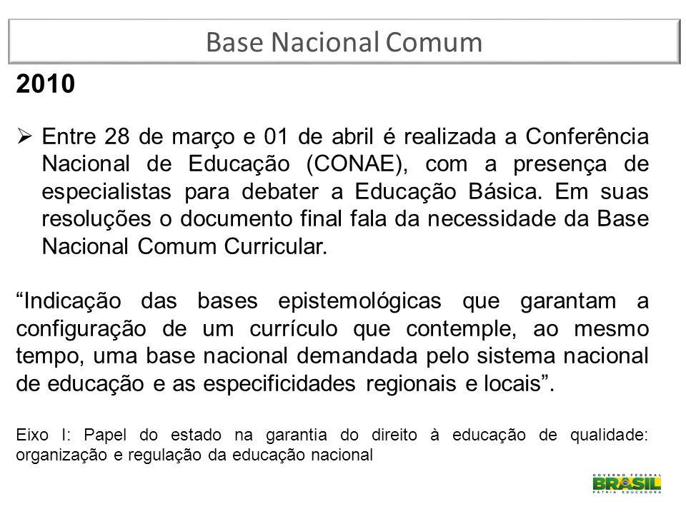 2010  Entre 28 de março e 01 de abril é realizada a Conferência Nacional de Educação (CONAE), com a presença de especialistas para debater a Educação