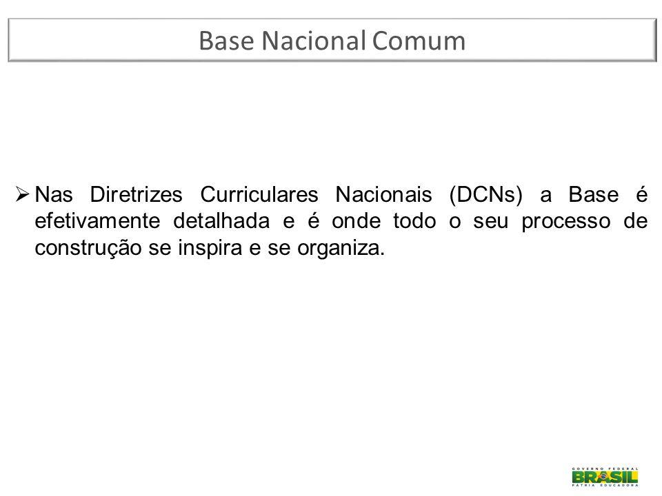 Base Nacional Comum  Nas Diretrizes Curriculares Nacionais (DCNs) a Base é efetivamente detalhada e é onde todo o seu processo de construção se inspi