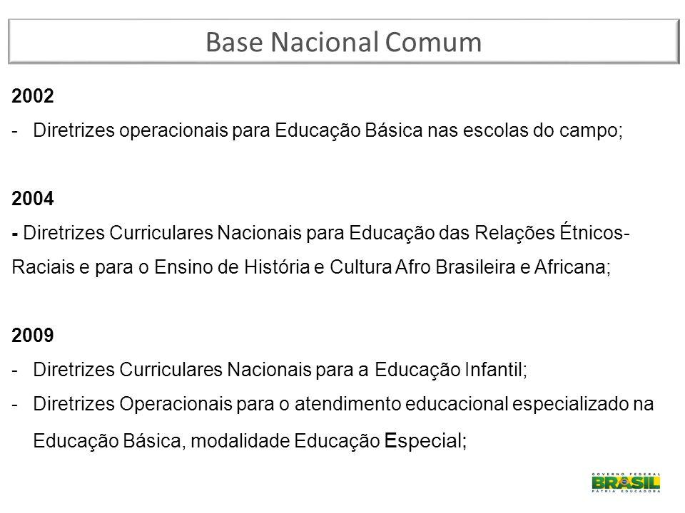 Base Nacional Comum 2002 -Diretrizes operacionais para Educação Básica nas escolas do campo; 2004 - Diretrizes Curriculares Nacionais para Educação da