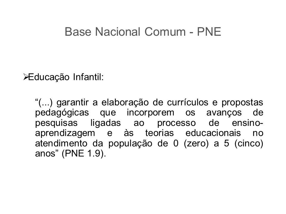 """ Educação Infantil: """"(...) garantir a elaboração de currículos e propostas pedagógicas que incorporem os avanços de pesquisas ligadas ao processo de"""