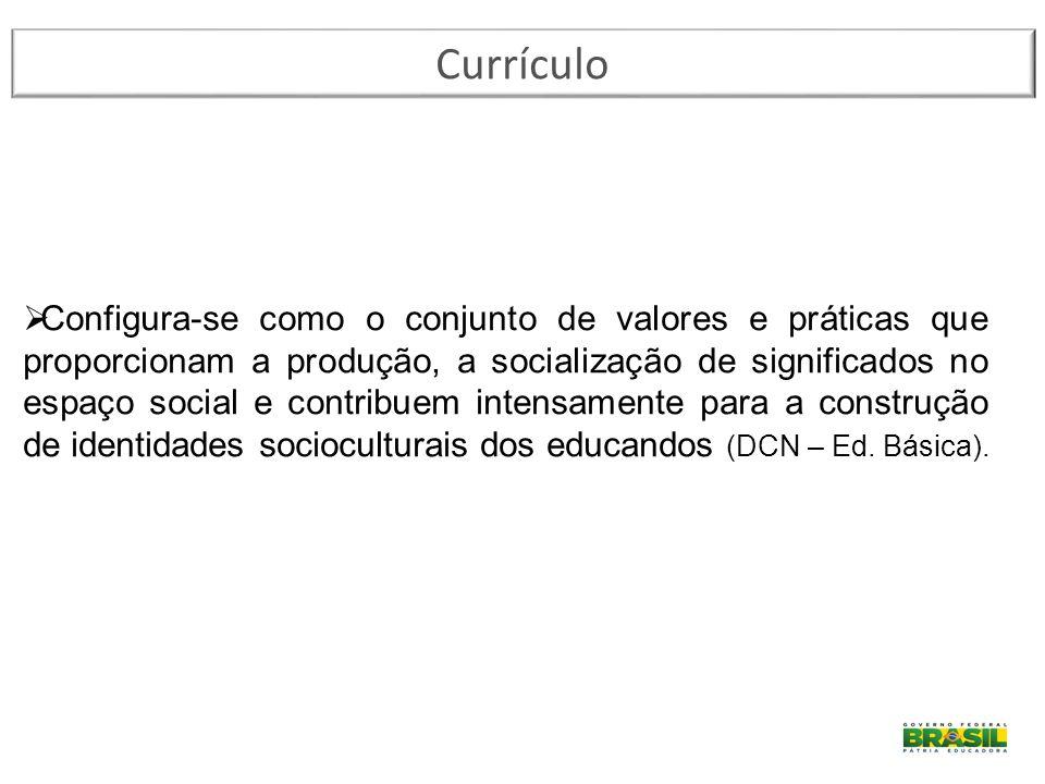 Currículo  Configura-se como o conjunto de valores e práticas que proporcionam a produção, a socialização de significados no espaço social e contribu