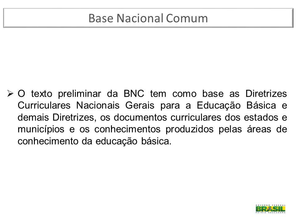 Base Nacional Comum  O texto preliminar da BNC tem como base as Diretrizes Curriculares Nacionais Gerais para a Educação Básica e demais Diretrizes,