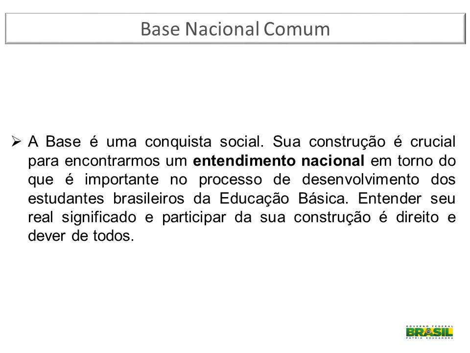 Base Nacional Comum  A Base é uma conquista social. Sua construção é crucial para encontrarmos um entendimento nacional em torno do que é importante