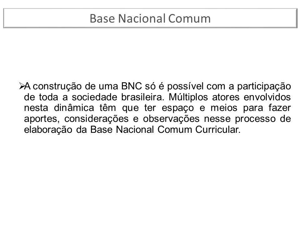 A construção de uma BNC só é possível com a participação de toda a sociedade brasileira. Múltiplos atores envolvidos nesta dinâmica têm que ter espa