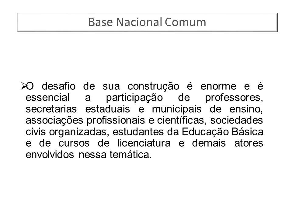 Base Nacional Comum  O desafio de sua construção é enorme e é essencial a participação de professores, secretarias estaduais e municipais de ensino,