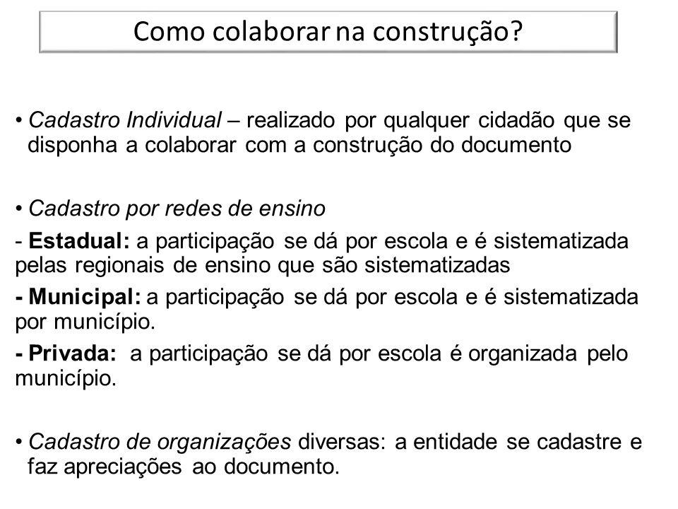 Cadastro Individual – realizado por qualquer cidadão que se disponha a colaborar com a construção do documento Cadastro por redes de ensino - Estadual
