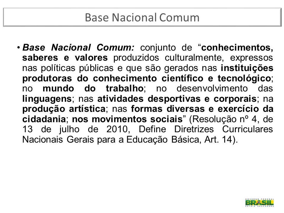 """Base Nacional Comum: conjunto de """"conhecimentos, saberes e valores produzidos culturalmente, expressos nas políticas públicas e que são gerados nas in"""