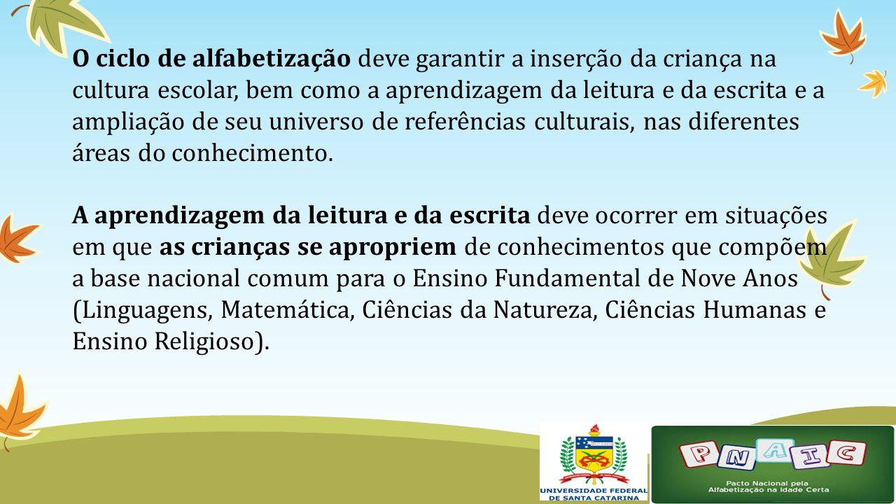 O ciclo de alfabetização deve garantir a inserção da criança na cultura escolar, bem como a aprendizagem da leitura e da escrita e a ampliação de seu universo de referências culturais, nas diferentes áreas do conhecimento.