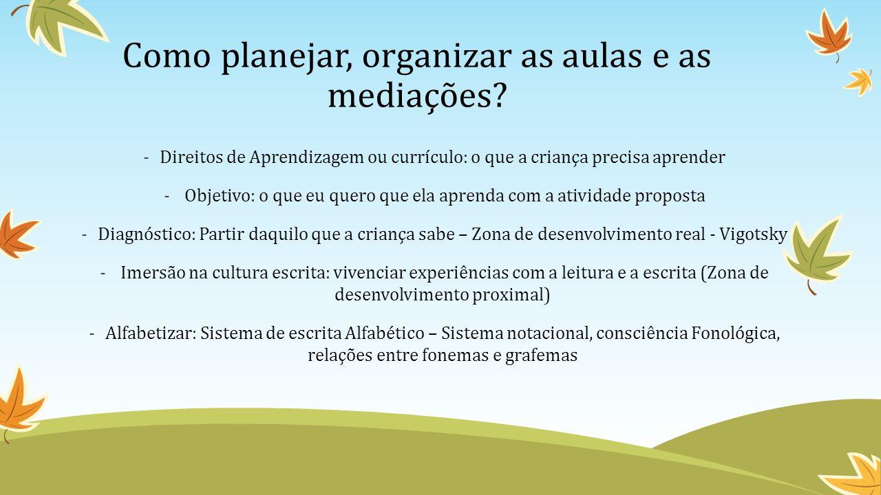 Como planejar, organizar as aulas e as mediações.