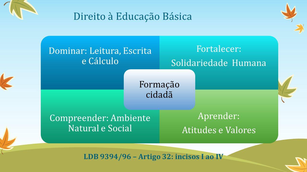Direito à Educação Básica Dominar: Leitura, Escrita e Cálculo Fortalecer: Solidariedade Humana Compreender: Ambiente Natural e Social Aprender: Atitudes e Valores Formação cidadã LDB 9394/96 – Artigo 32: incisos I ao IV