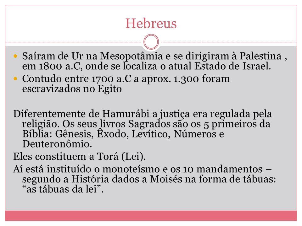 Hebreus Saíram de Ur na Mesopotâmia e se dirigiram à Palestina, em 1800 a.C, onde se localiza o atual Estado de Israel. Contudo entre 1700 a.C a aprox