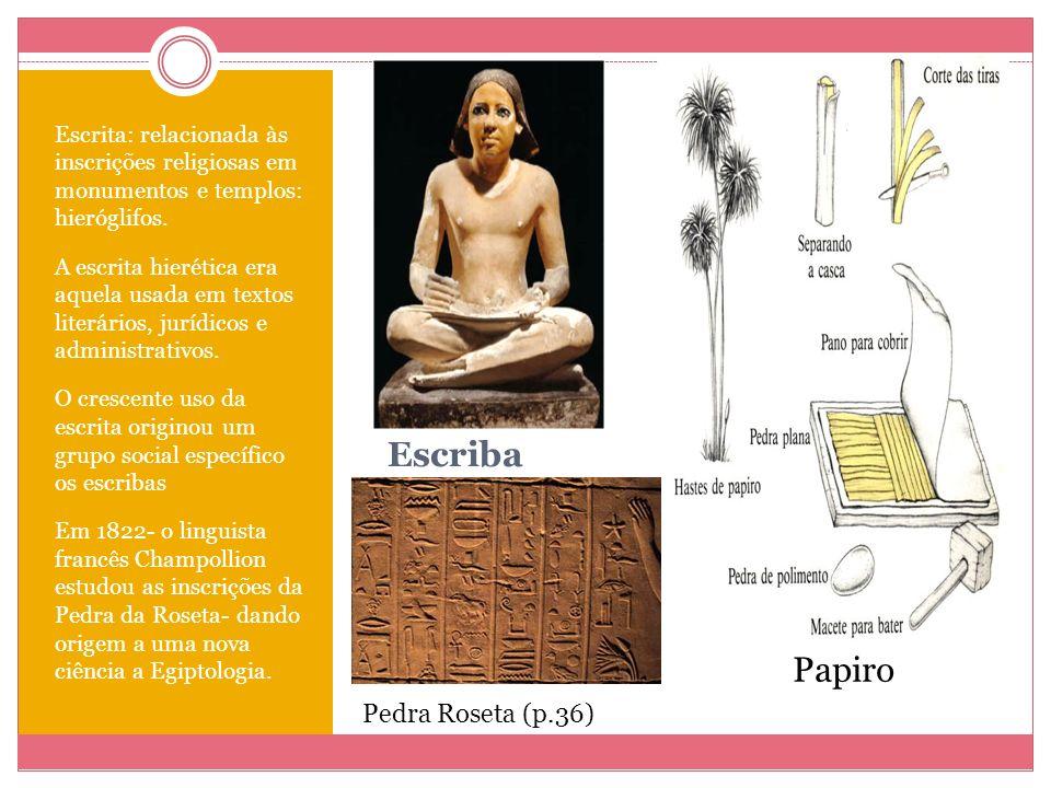 Escriba Escrita: relacionada às inscrições religiosas em monumentos e templos: hieróglifos. A escrita hierética era aquela usada em textos literários,