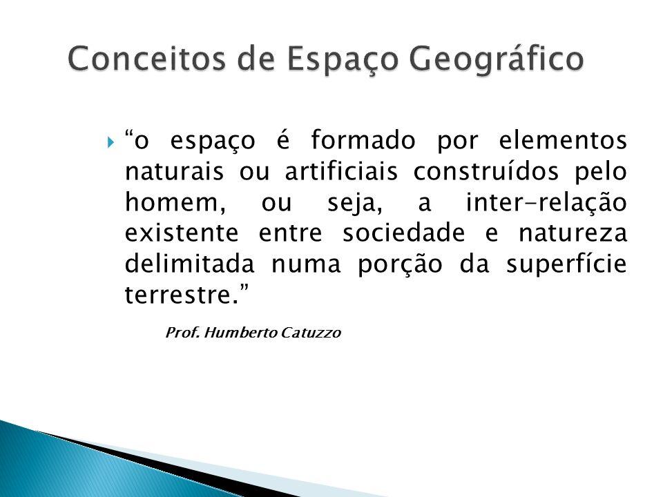  o espaço é formado por elementos naturais ou artificiais construídos pelo homem, ou seja, a inter-relação existente entre sociedade e natureza delimitada numa porção da superfície terrestre. Prof.