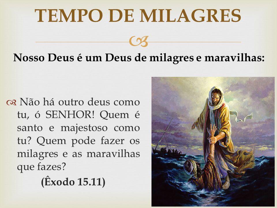   Não há outro deus como tu, ó SENHOR! Quem é santo e majestoso como tu? Quem pode fazer os milagres e as maravilhas que fazes? (Êxodo 15.11) TEMPO