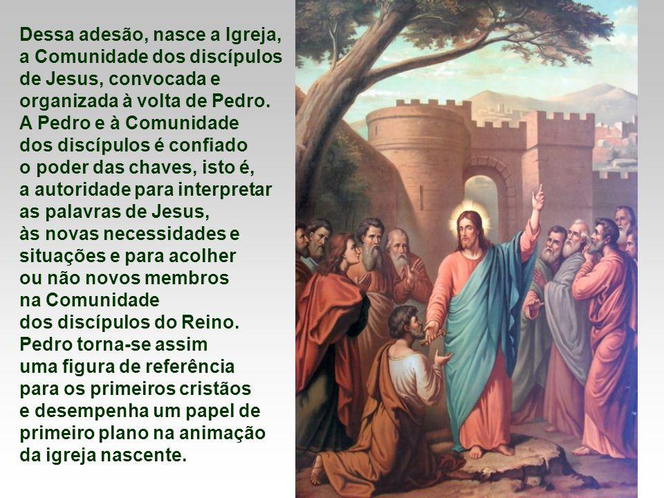 Dessa adesão, nasce a Igreja, a Comunidade dos discípulos de Jesus, convocada e organizada à volta de Pedro.