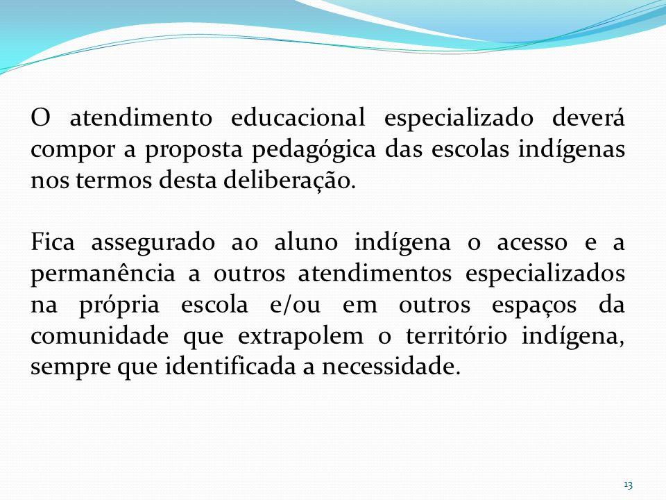 O atendimento educacional especializado deverá compor a proposta pedagógica das escolas indígenas nos termos desta deliberação. Fica assegurado ao alu