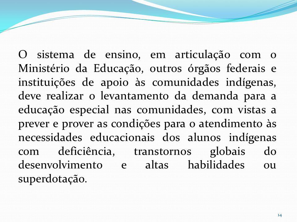 O sistema de ensino, em articulação com o Ministério da Educação, outros órgãos federais e instituições de apoio às comunidades indígenas, deve realiz