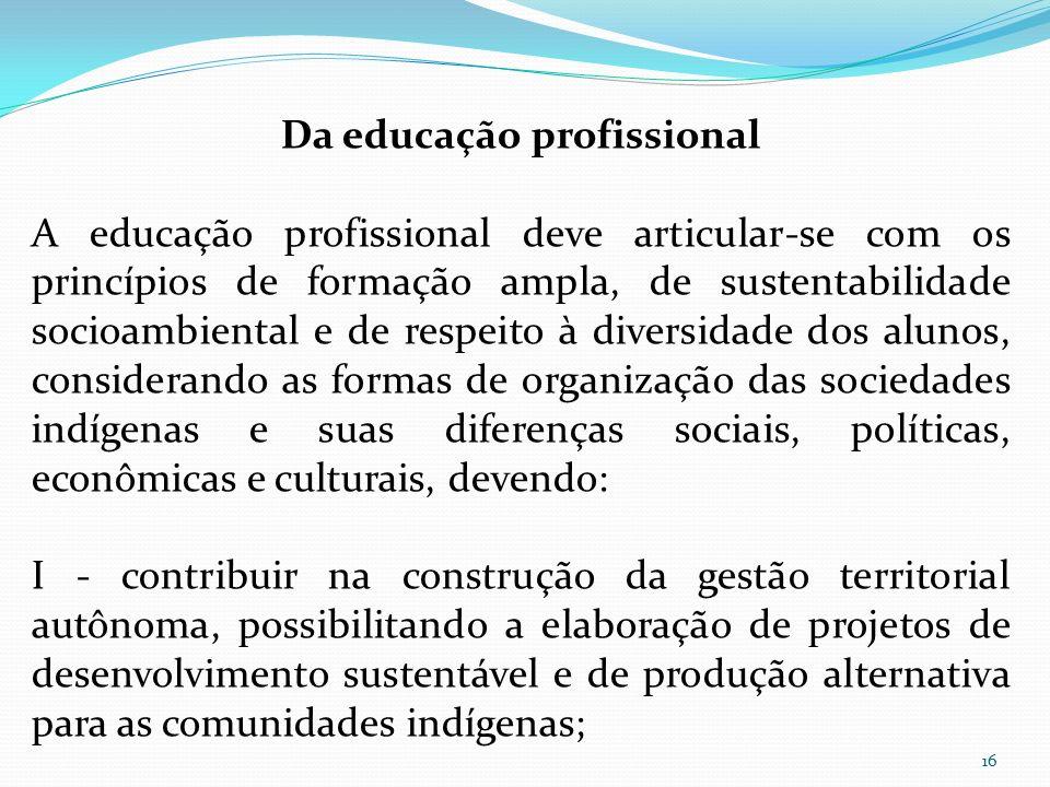 Da educação profissional A educação profissional deve articular-se com os princípios de formação ampla, de sustentabilidade socioambiental e de respei