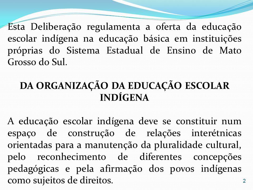 Esta Deliberação regulamenta a oferta da educação escolar indígena na educação básica em instituições próprias do Sistema Estadual de Ensino de Mato G