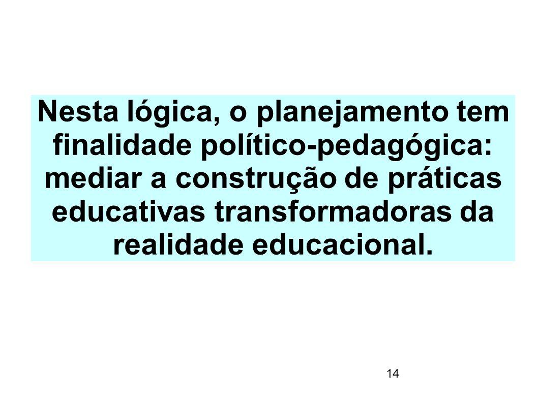14 Nesta lógica, o planejamento tem finalidade político-pedagógica: mediar a construção de práticas educativas transformadoras da realidade educaciona