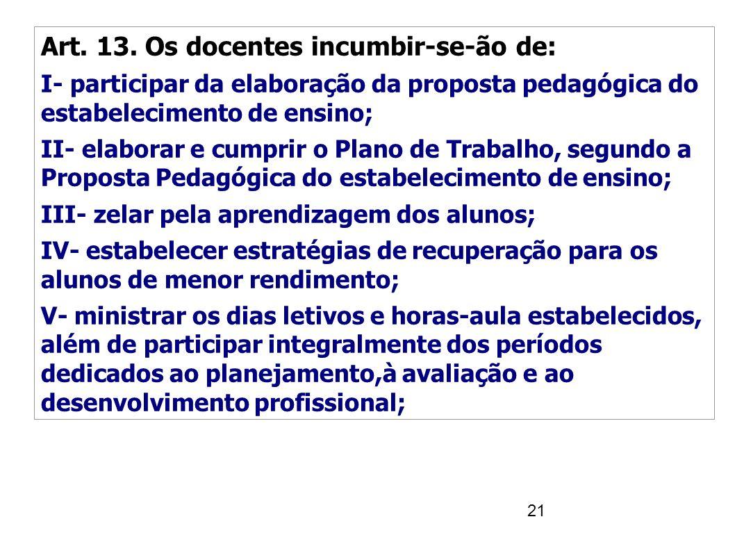 21 Art. 13. Os docentes incumbir-se-ão de: I- participar da elaboração da proposta pedagógica do estabelecimento de ensino; II- elaborar e cumprir o P